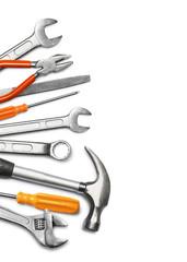 Mechanic tools on white