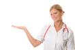Krankenschwester päsentiert imaginäres Produkt