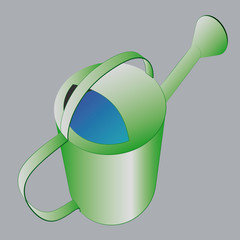 green shaded metal ewer with water