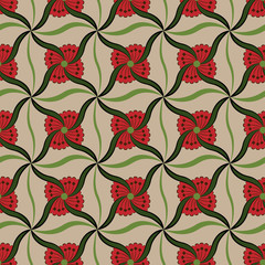 Symmetrical red flower buds vector pattern.