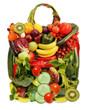 frisches Obst und Gemüse in Form einer Tasche