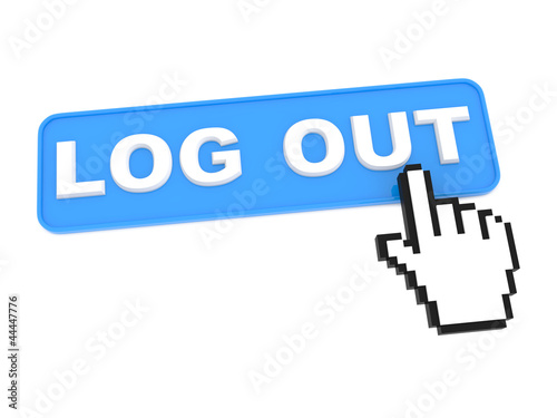 "Social Media Button ""Log Out"" on White Background"