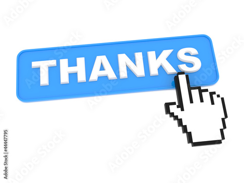 "Social Media Button ""Thanks"" on White Background"