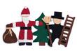 Weihnachtsmann und Schornsteinfeger mit Tannenbaum