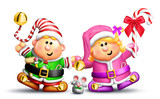 Whimsical Boy and Girl Elves Holding Hands poster