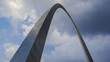 Timelapse St. Louis Arch with dramatic clouds in the background