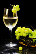 white wine glass with grapes bunch