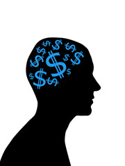 Man head silhouette with dollars instead of brain