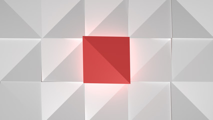 Abstract Cubes White Red