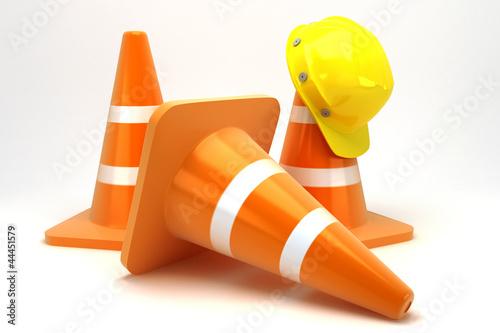 Leinwandbild Motiv illustration of 3d image of hard hat on construction cone