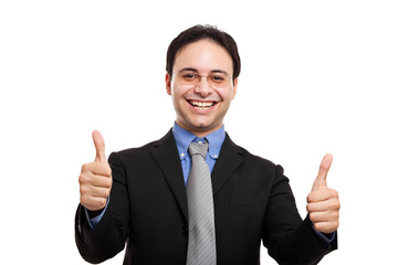Businessman with thumbs up gesture, isolated on white