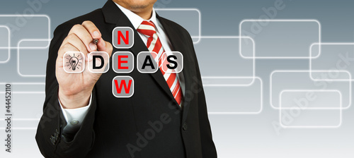 Businessman hand drawing New Ideas