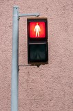Red pedestrian lamp