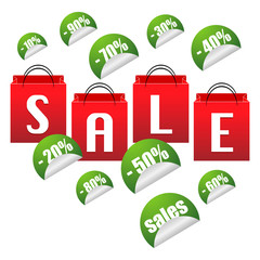 Sale stickers with red bags