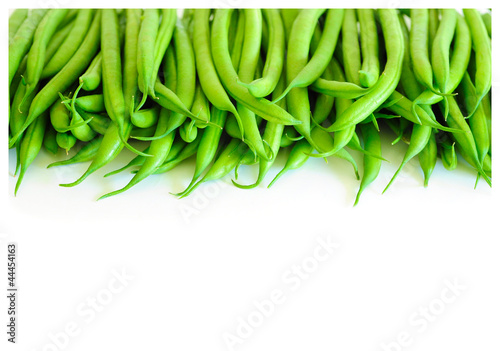 Green Beans Pile on White Backgrounds