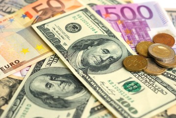 Dollar and Euro bank note money background