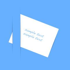 Biglietto su sfondo azzurro