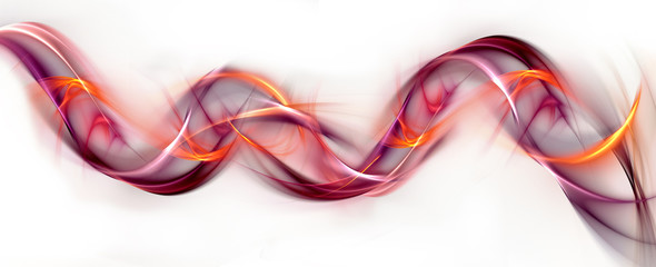 Abstract red fractal waves on white background