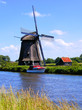 Dutch windmill along a canal near Alkmaar, Netherlands