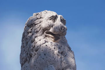 marble leo with blue sky background