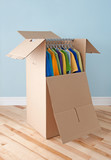 Wardrobe box with colorful clothing, ready for moving poster