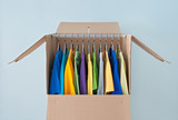 Bright clothing in a wardrobe box for easy moving poster