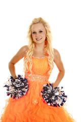 orange dress pom poms