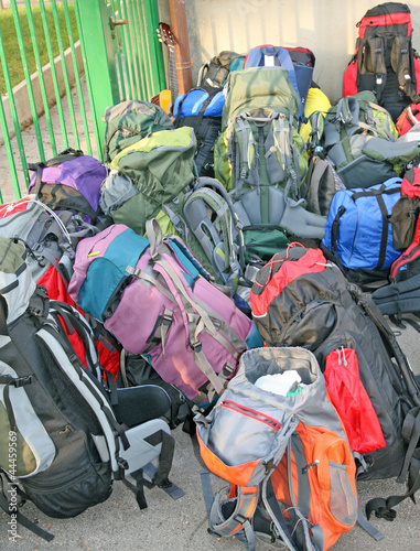 pile of backpacks scout before the journey