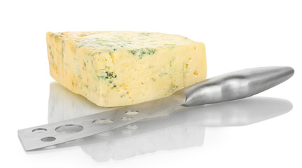 Cheese with mold and knife isolated on white background