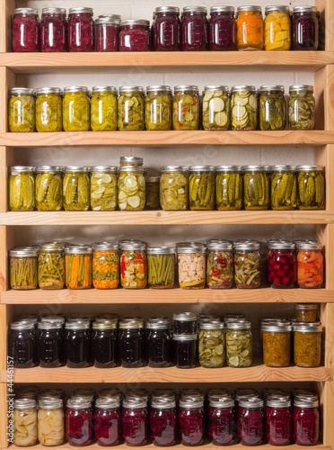 Shelves of canned goods