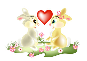 A couple of pretty cartoon rabbits on valentine's day