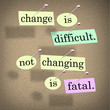 Change Difficult Not Changing is Fatal Words Bulletin Board
