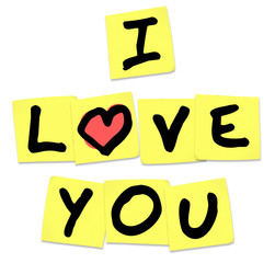 I Love You - Words on Yellow Sticky Notes