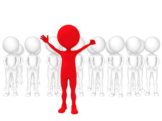 3d small people - volunteers. 3d image. Isolated white backgroun