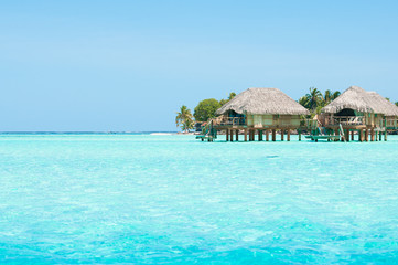Transparent water and bungalows