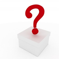 closed box with question mark. 3d illustration