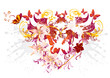 Pretty valentine's heart from flowers and color splats