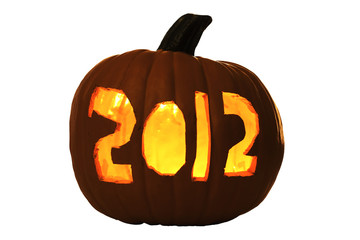 2012 Carved Halloween Pumpkin Lit by Candle