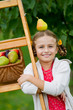 Autumn orchard - lovely girl with picked  ripe  pears