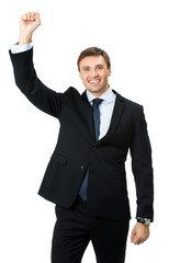 Happy gesturing businessman , isolated