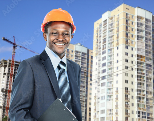 african american young Man architect on a building