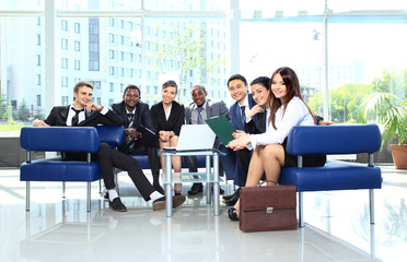 Group of business colleague in a meeting together
