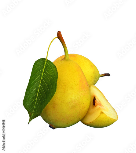 pear with leaf and slice cut