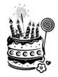 Geburtstag, Torte, Kuchen, birthday, vector, schwarz