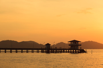 Bridge to the sea at sunset, Songkhla, Thailand