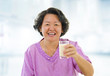 Healthy Senior Asian and soy milk