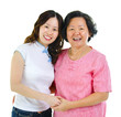 Asian senior mother and daughter