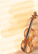 Violin on music background with handmade notes.