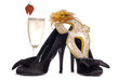 Masquerade mask with high heels and champagne