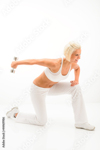 Woman white fitness exercise with weights